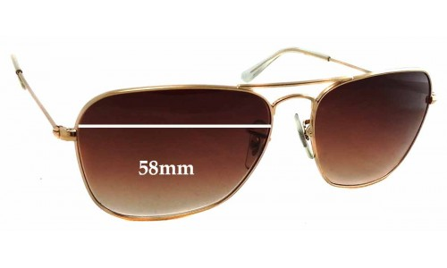 Sunglass Fix Sunglass Replacement Lenses for Ray Ban RB3136 Caravan - 58mm Wide x 44mm Tall