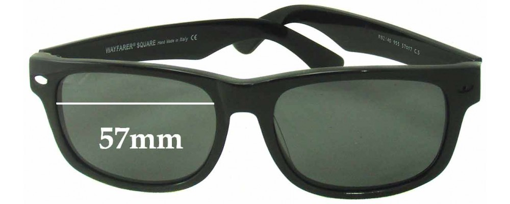 Sunglass Fix Sunglass Replacement Lenses for Ray Ban Wayfarer RB2140 Square - 57mm Wide