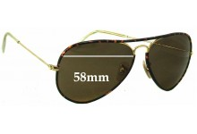 Sunglass Fix Sunglass Replacement Lenses for Ray Ban Aviator RB3025-J-M - 58mm Wide