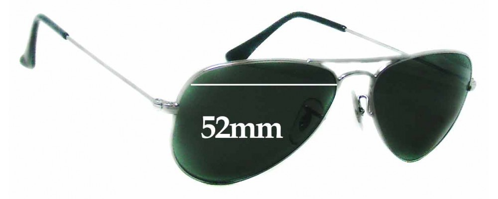a3342178dcb Ray Ban RB3044 Aviator Small Metal W3100 Sunglass Replacement Lenses - 52mm  wide