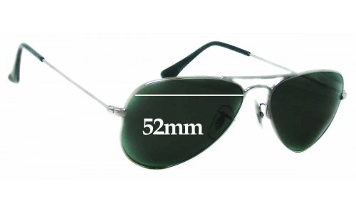 Sunglass Fix Sunglass Replacement Lenses for Ray Ban Aviator RB3044 W3100 Small Metal - 52mm Wide