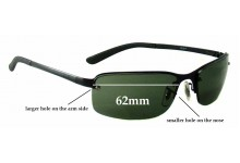 Sunglass Fix Sunglass Replacement Lenses for Ray Ban RB3217 - 62mm Wide **These lenses have a smaller hole on the nose**