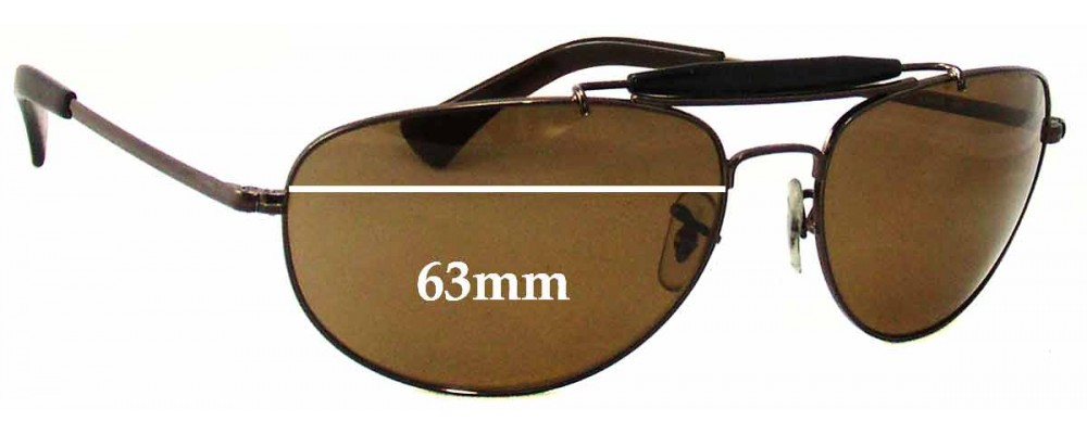 3270ec8bf6 Ray Ban RB3423 Sunglass Replacement Lenses - 63mm across