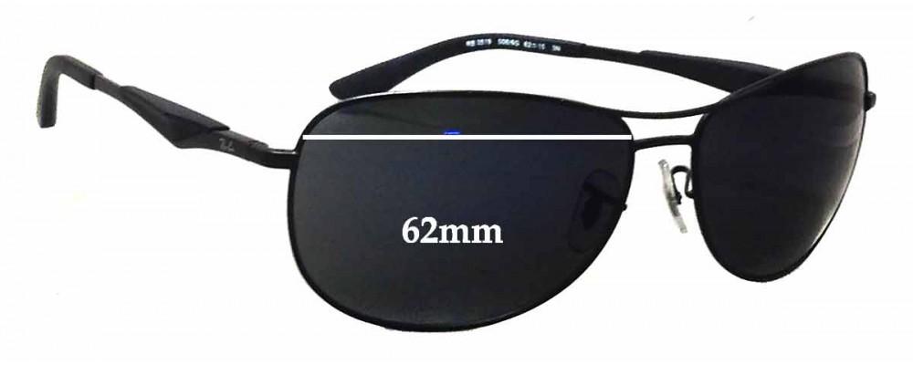 e81da710bb0 Ray Ban RB3519 Sunglass Replacement Lenses - 62mm wide