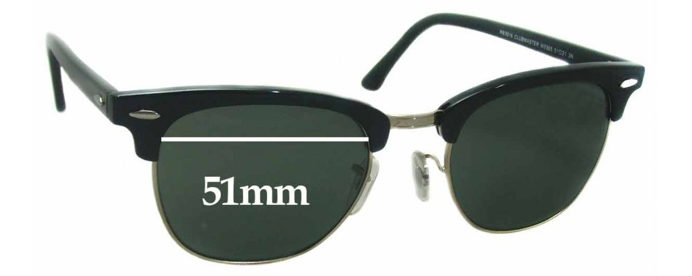 Sunglass Fix Sunglass Replacement Lenses for Ray Ban Clubmaster RB3016 WO365 - 51mm Wide
