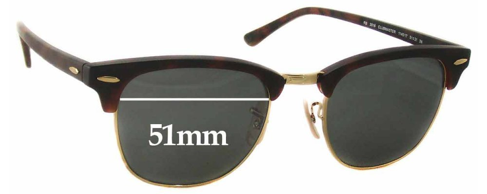 28f287700b01 Sunglass Fix Sunglass Replacement Lenses for Ray Ban RB3016 Clubmaster -  51mm Wide