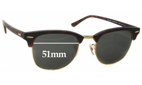 Sunglass Fix Sunglass Replacement Lenses for Ray Ban RB3016 Clubmaster - 51mm Wide
