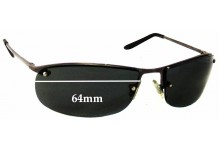 Sunglass Fix Sunglass Replacement Lenses for Unknown Rimless Design - 64mm Wide
