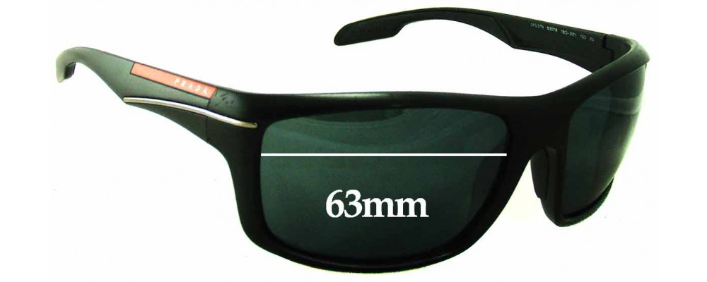 Sunglass Fix Sunglass Replacement Lenses for Prada SPS01N - 63mm Wide