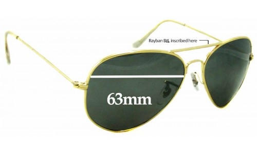 Sunglass Fix Sunglass Replacement Lenses for Ray Ban B&L Aviator RB3026 - 63mm Wide