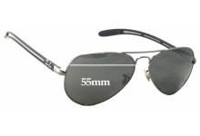 Sunglass Fix Sunglass Replacement Lenses for Ray Ban Aviator Tech RB8307 - 55mm Wide