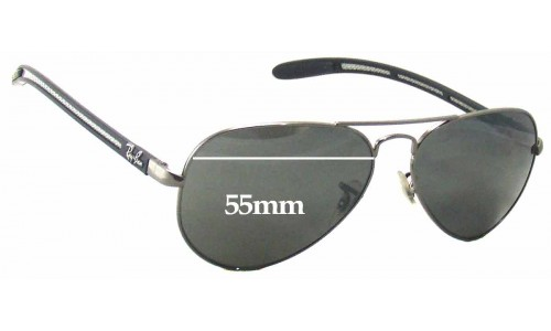 Sunglass Fix Sunglass Replacement Lenses for Ray Ban Aviator Tech RB8307 - 55mm Wide