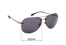 Sunglass Fix Sunglass Replacement Lenses for Prada SPS50R - 62mm Wide