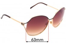 Sunglass Fix Replacement Lenses for Gucci GG2846/S - 63mm Wide