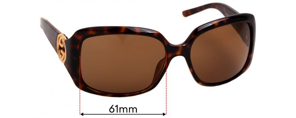 Sunglass Fix Replacement Lenses for Gucci GG3164/S - 61mm Wide