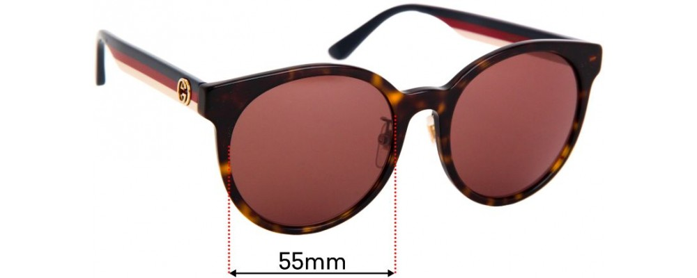 Sunglass Fix Replacement Lenses for Gucci GG0416SK - 55mm Wide