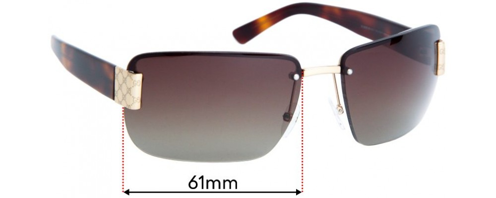 Sunglass Fix Replacement Lenses for Gucci GG1798 - 61mm Wide