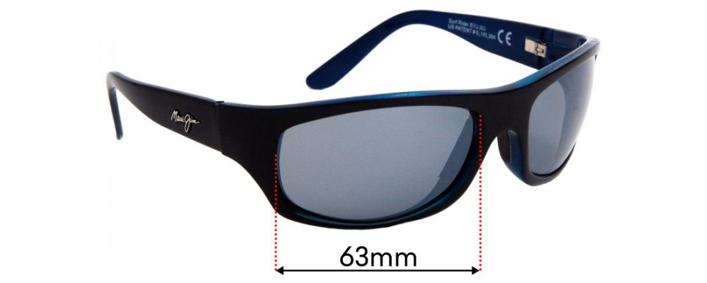 Sunglass Fix Sunglass Replacement Lenses for Maui Jim MJ261 Surf Rider - 63mm Wide