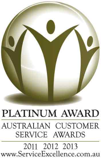 Award Winning products and services - highest award in Australia two years running